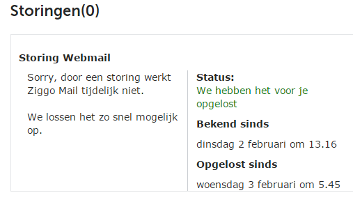 Nieuws - Storing in Ziggo mail ICT Services | L'Unité ...